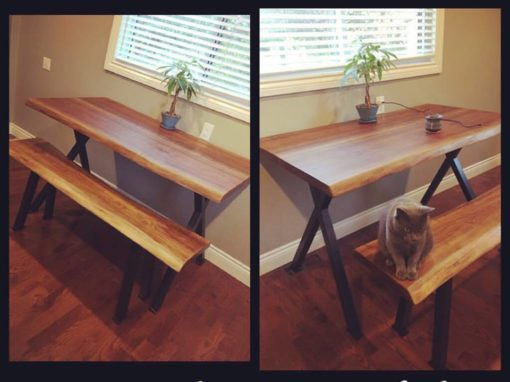 Slanted X Legs – Table & Bench
