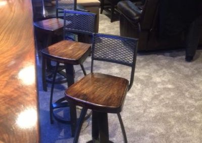 Bar Stools with Expanded Metal Backs